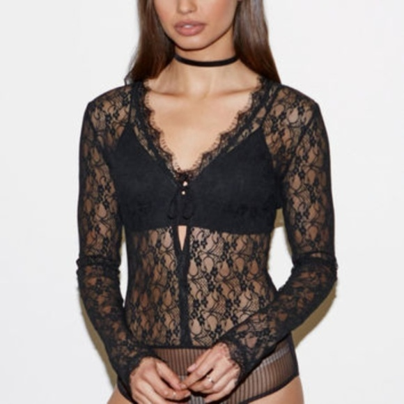 Kendall & Kylie Tops - Kendall & Kylie - Lace Black Bodysuit